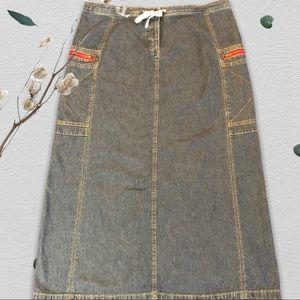 I.E. brand blue denim button fly skirt size 12 P